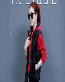 双面绒马甲套装女2018冬装新款韩版休闲运动保暖卫衣