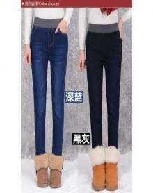 高腰牛仔裤女加绒加厚松紧腰弹力修身加肥加大码200斤2017冬季新款韩版小脚长裤潮