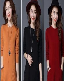 宽松针织衫女上衣秋冬季女装中长款套头毛衣女韩版宽松简约打底衫针织毛衣裙