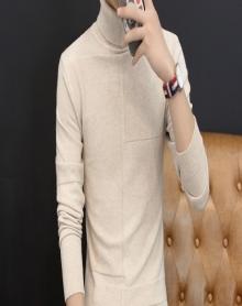 加绒高领毛衣男士韩版高领针织衫长袖T恤男上衣服修身打底衫潮流打底衫