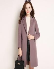 精选面料羊绒呢内里衬毛呢大衣女高矮个子新款双面呢羊毛大衣修身韩版中长款毛呢外套女