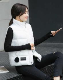 毛球棉马甲女春秋冬韩版短款学生棉服外套女装潮背心坎肩