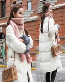 中长款韩版冬季棉服女学生宽松面包服加厚棉袄XS-XXL