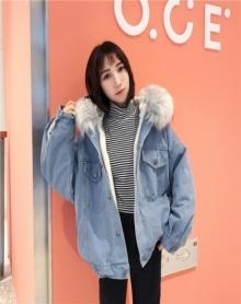 冬季新款韩版加厚毛绒毛领牛仔外套宽松短款加绒羊羔毛棉服女