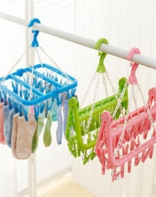 2个装32夹折叠衣架成人防风晾衣架塑料多夹子儿童袜子架挂婴儿家用晒架