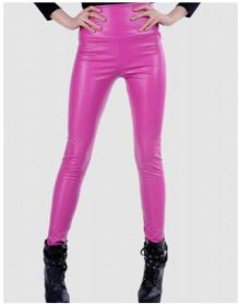 大码高腰PU彩色皮裤打底皮裤外穿高腰小脚紧身女裤