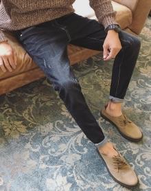 加绒和不加绒秋冬抓痕加厚牛仔裤男韩版修身弹力男士百搭小脚裤子