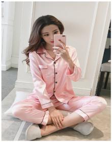 甜美薄款开衫维密丝绸家居服睡衣女秋季套装休闲韩版冰丝长袖两件