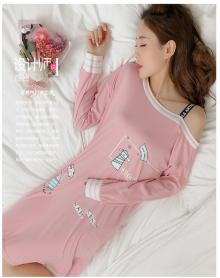 卡通长款长裙家居服可外穿睡裙女春秋季纯棉长袖韩版睡衣女士可爱