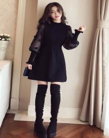 2018新款网纱拼接黑色针织连衣裙女显瘦中长款收腰a字打底裙