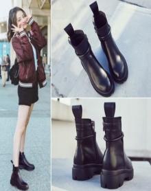 【高品质】【加绒保暖】秋冬新款单鞋短靴马丁靴女韩版圆头粗跟厚底高跟高帮女鞋