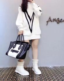新款韩版中长款字母上衣女时尚宽松显瘦套头卫衣