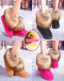 平底仿狐狸毛雪地靴女冬短筒棉鞋中筒女靴女学生短靴保暖女鞋筒靴子毛毛鞋女款冬季韩版面包鞋加绒
