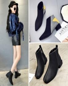 【3款可选】好品质加绒尖头新款切尔西靴短靴女中粗跟拼色马丁靴及踝裸靴