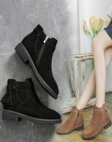 【男神推荐】【偏小一码】冬季保暖女靴新款潮百搭韩版靴子马丁靴粗跟女靴