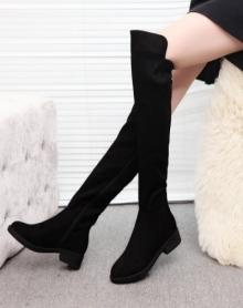 秋冬季新款靴子女鞋磨砂皮平底矮跟长拉链过膝长靴高筒单靴女