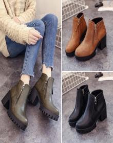 新款冬季粗跟马丁靴女英伦风韩版圆头加绒