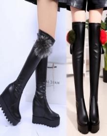 过膝长靴内增高弹力靴秋冬新款厚底高筒坡跟长靴高跟毛球长筒靴铆钉长靴女鞋