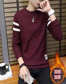2017秋冬季新款男士毛衣加绒加厚圆领套头线衫男装长袖打底针织衫