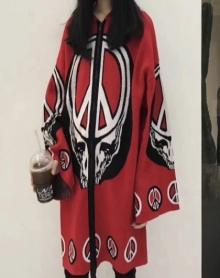 潮牌女装欧洲站冬装新款中国红抽象图案中长款连帽风衣外套