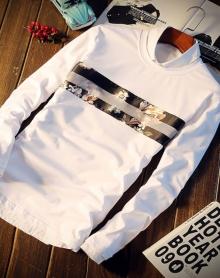 春季圆领套头字母印花长袖T恤男士加大码体恤打底卫衣青年潮男装