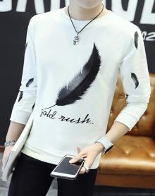 新款男士春季长袖t恤 字母羽毛款体恤韩版打底衫卫衣秋衣男装潮
