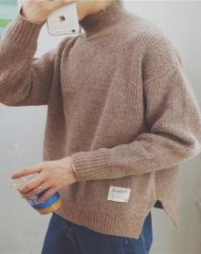 日系男秋冬韩版潮流青年长袖半高领宽松开叉毛衣男青少年针织衫潮