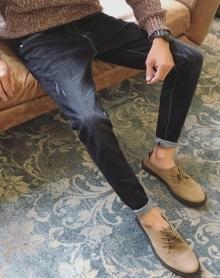 秋冬款弹力牛仔裤韩版潮流修身小脚男生男士直筒裤子冬季加绒加厚