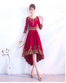 敬酒服新娘红色新款秋冬季中袖中式结婚晚礼服女修身显瘦长款