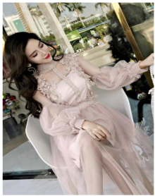 花朵仙女裙轻韩版裙子时尚修身新款中长裙气质收袖网纱裙蕾丝连衣裙