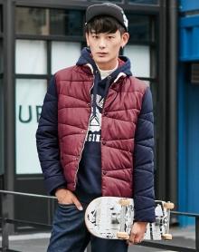 男士冬装撞色高领加厚保暖加厚棉服男款休闲棉服