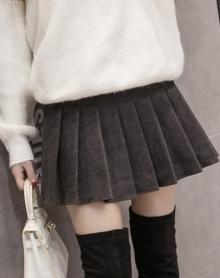 秋冬韩版学生短裙学院风高腰显瘦裙子毛呢格子半身百褶裙