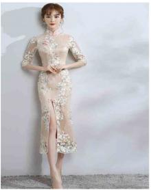 新款改良版旗袍少女长袖日常名媛宴会礼服连衣裙秋冬粉色长款