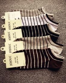 纯棉海军风细条纹男士短袜子 男全棉文艺复古船袜