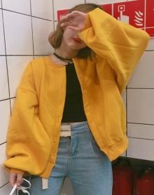 韩版灯笼袖宽松卫衣女秋季学生纯色开衫夹克短款外套