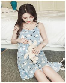 甜美可爱吊带睡裙无袖碎花冰丝家居服韩版学生睡衣女夏季短袖纯棉