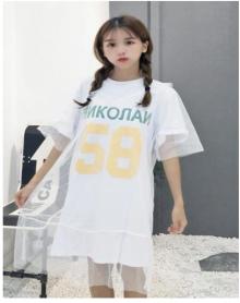 2018新款韩版拼接网纱中长款字母宽松短袖T恤女学生上衣夏季