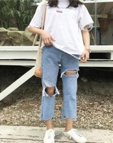 水洗大破洞裤子牛仔九分裤直筒宽松裤脚不规则侧边开叉裤女