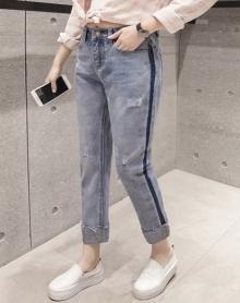 新款复古显瘦牛仔裤休闲百搭女时尚毛边直筒高腰磨破哈伦裤