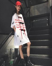 2018新款INS原宿BF风街头百搭休闲圆领上衣字母印花短袖T恤潮