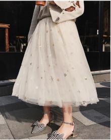 新品仙女裙金丝绒拼接网纱高腰裙百褶裙A字半身裙秋冬季韩版长裙