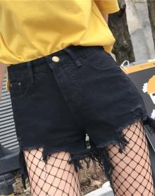 新款高腰破洞毛边牛仔短裤女夏季宽松阔腿热裤子