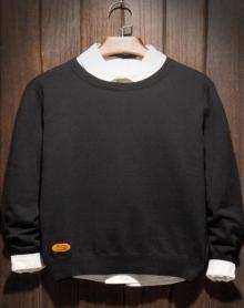 毛衣男圆领情侣韩版学生潮流纯色针织衫青少年毛线衣加绒加厚冬季