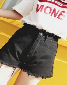 新款韩版牛仔裤高腰显瘦超短裤学生宽松百搭牛仔短裤