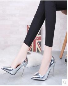 2018年春季新款韩版银色磨砂性感细跟高跟鞋女尖头浅口女士百搭单鞋