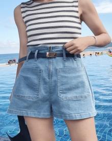 夏季女装韩版百搭高腰显瘦牛仔裤A字短裤宽松阔腿裤热裤