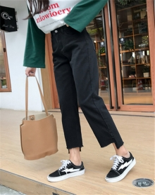 新款韩版学生直筒不规则毛边开叉裤脚九分宽松阔腿牛仔裤女
