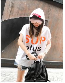 夏季新款韩版时尚袖口割破洞字母印花宽松百搭圆领短袖T恤