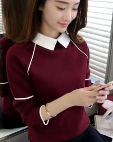 2018新品小清新宽松刺绣针织衫荷叶袖半高领学生魅力毛衣女