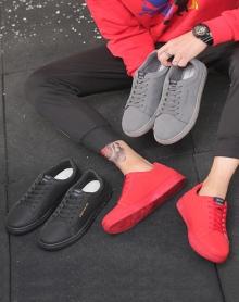 新款男鞋子韩版潮流百搭舒适板鞋男士休闲鞋红色灰色黑色低帮系带运动潮鞋男青少年男鞋学院风鞋子